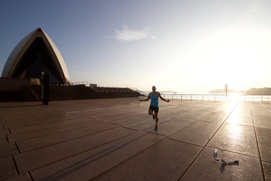 Training zum Sonnenaufgang am Hafen von Sydney